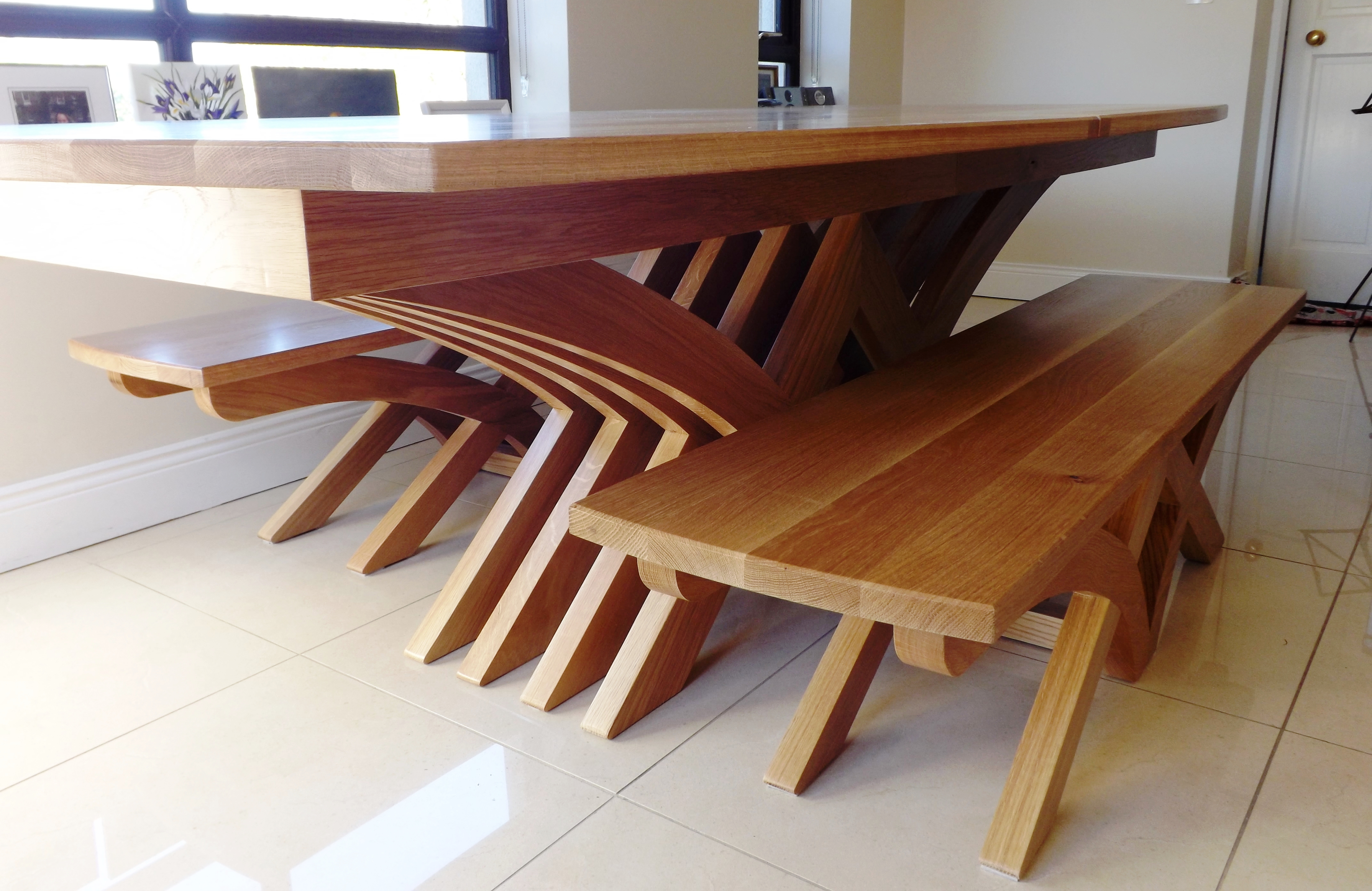 Oak Dining Table Benches Solid